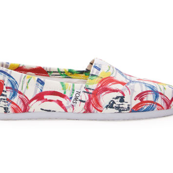 TOMS White Multi Canvas Paint Women's Classics White