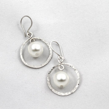 Pearl earrings in sterling silver hoops, Silver and pearl jewelry, Sterling silver jewelry - Choose from 11 colors of pearls