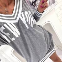 Grey Letter Pleated V-neck Long Sleeve Sports Loose Mini Dress