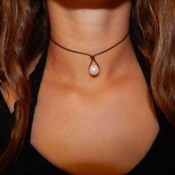 Womens Leather Pearl Teardrop Choker Necklac +Gift Box
