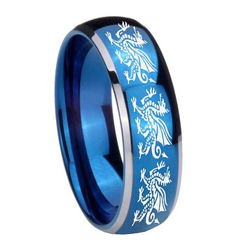 8mm Multiple Dragon Dome Blue 2 Tone Tungsten Carbide Mens Engagement Ring