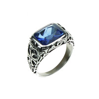 925 Sterling Silver Rings For Men Blue Natural Crystal Stone Mens Ring