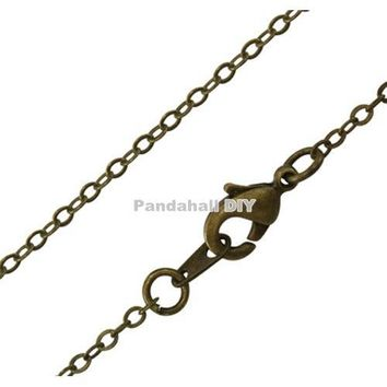 """10 pcs Antique Bronze Color Brass Necklace Making Chain Jewelry Findings link: about 1.5mm wide, 2mm long, 18"""" long"""