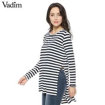Women loose side split long T shirt O-neck long sleeve cozy shirts brief stripped casual tops