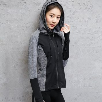 Two Tone Stand Collar Front Zip Up Closure Hoodie Legging Set
