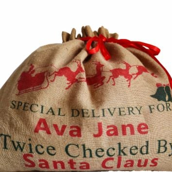 Personalized Christmas Burlap Sack -Monogrammed Favor Bag -Santa Gift Sack For Kids -Christmas Goodies Gift Wrapping, Custom Holiday