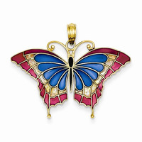 14k Yellow Gold Blue Butterfly Wings Pendant