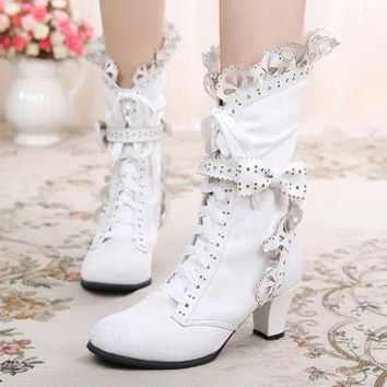 Sweet Lolita Womens Lace Ankle Boots Bow Chunky High Heel Lace Up