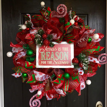 Jesus is the Reason for the Season deco mesh wreath, Christmas deco mesh wreath, Christmas wreath, Christmas mesh wreath, Jesus wreath