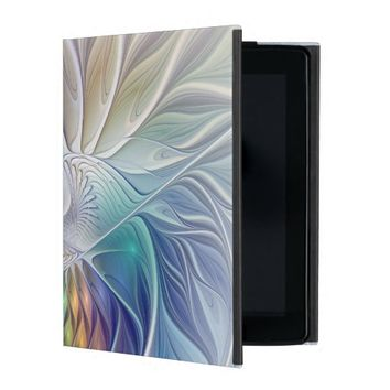 Floral Fantasy, abstract and modern Fractal Art iPad Folio Cases