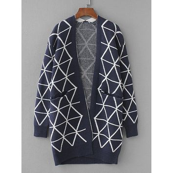 Geo Pattern Hidden Pocket Cardigan