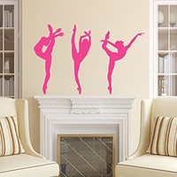 Wall Decals Ballerina Acrobatics Girl Ballet Dancer Gymnastics Sport Jump Girls Kids Children Gift Nursery Dance Studio Wall Vinyl Decal Stickers Bedroom Murals