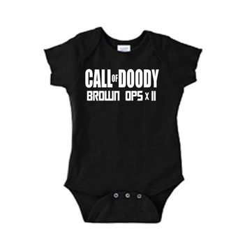 Call of Doody Brown Ops x2 One Piece Bodysuit with Lap Shoulder and Snap On Buttons