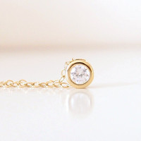Le Petite-  14K Gold Filled Crystal Necklace - Simple Sweet Everyday Jewelry