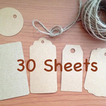 30 pcs Kraft gift tag, brown card stock, price tag, product tag, round label, blank card, DIY patterned cardstock  label, custom cardstock