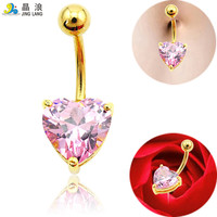 Fashion Belly Button Rings Plated Gold Surgical Steel Crystal Heart Fake Navel Body Piercing Jewelry Free Shipping