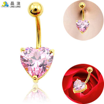 Belly Button Rings Plated Gold Surgical Steel Crystal Heart Fake Navel Body Piercing Jewelry Free Shipping