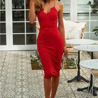 Golden Child Midi Dress Red