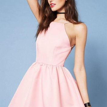 ESBONN Casual Pink Spaghetti Strap Backless Halter Dress