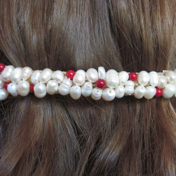 Beaded Barrette Freshwater Pearl and Red Coral