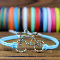 Discount 50% - Handmade wax rope bracelet silver bracelet bicycle, Friendship Christmas gift