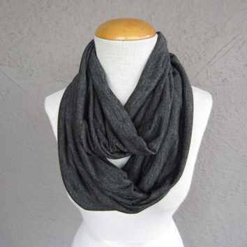Charcoal Grey Infinity Scarf - Dark Grey Circle Scarf - Jersey Knit Eternity Scarf