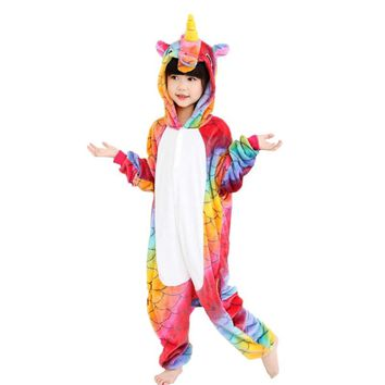 EOICIOI Flannel Animal Unicorn Children Boys Girls Pajamas Hooded Kids Sleepwear Cartoon Cosplay Baby Pijamas Infantil Onesuits