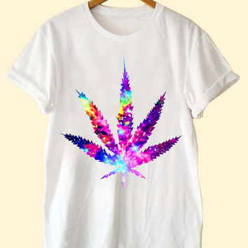 Cosmic Cannabis leaf galaxy  clothing T Shirt Mens and T Shirt Girls customized