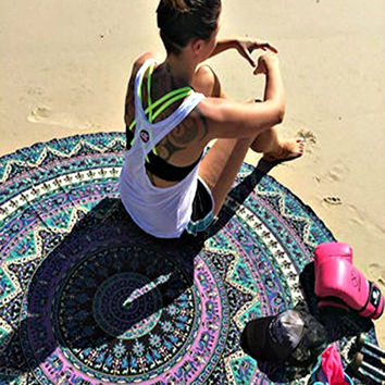 The Bella Boho Round Mandala Bohemian India Tapestry Yoga Mat Beach Blanket