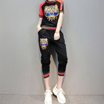 """Kenzo"" Women Casual Fashion Embroidery Sequin Tiger Head Letter Multicolor Stripe Short Sleeve Trousers Set Two-Piece Sportswear"