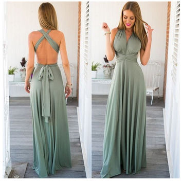 Sexy Green Backless Waist Tie Maxi Dress = 4756942340