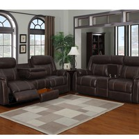7303 - The Rummy Reclining Living Room Set - Dark Brown