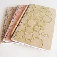 Kraft Logs Personalized Notebook Set Choice of Colors