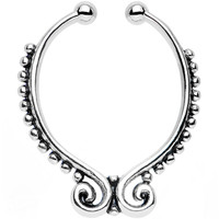 Beaded Butterfly Non-Pierced Clip On Septum Ring   Body Candy Body Jewelry