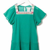 EMBROIDERY TRIM CREPE PEASANT DRESS GIRLS