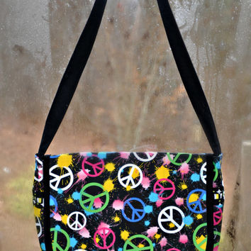 Peace, Love and Retro Messenger Bag - Handmade by The Hippie Patch