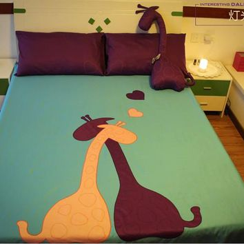 Giraffe Comforter Bedding sets queen size king bed in a bag sheets patch bedspread duvet cover quilt doona bedset green purple