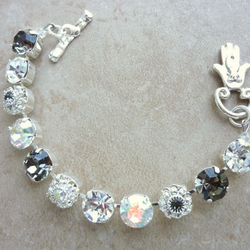 swarovski crystal bracelet- large 11mm stone- floral with hamsa good luck clasp- better than sabika
