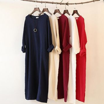 2016 Autumn Winter dress loose long sleeve cotton linen dress,Long Dress Plus Size S-5XL 6XL women clothes Vestido Feminino