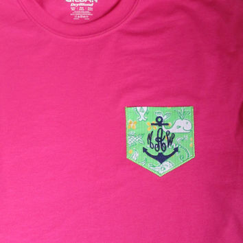 Lilly Pulitzer monogram anchor pocket t-shirt