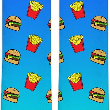 Burger and Fries Blue Ombre Knee High Socks