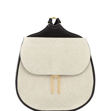 Hayward Vallens Saffiano Leather Backpack, White