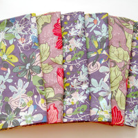 Large Cloth Napkins - Set of 6 - Purple and Pink Flowers