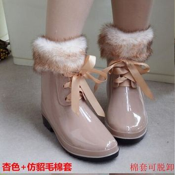 Fashion Floral Print Women Rain Boots Warm Snow Boots With Fur Bow Lace Up Women Water Shoes Rainboots Garden Boots