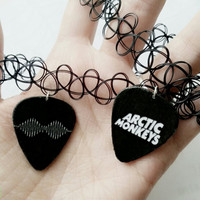 Arctic Monkeys Double Sided (Reversible) Guitar Pick Tattoo Choker