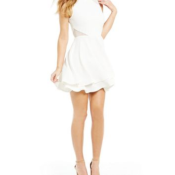 Honey and Rosie Mock Neck Illusion Inset Fit-And-Flare Dress | Dillards