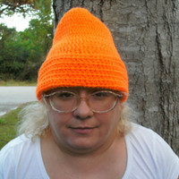 Handmade crocheted Orange folded hat by CanadianCraftCritter