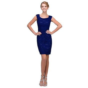 Navy Blue Above Knee Lace Fitted Cocktail Dress Tank Strap