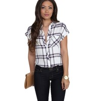 Navy Tough Gal Plaid Short Sleeve Shirt