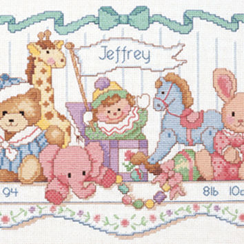 """Toy Shelf Birth Record Counted Cross Stitch Kit-16""""""""X9"""""""" 14 Count"""